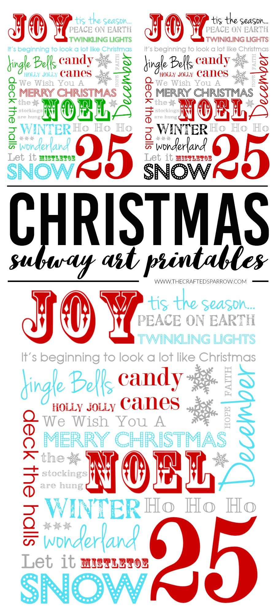 Christmas Subway Art Printables