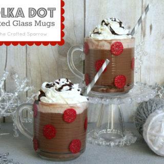 Polka Dot Painted Glass Christmas Mugs
