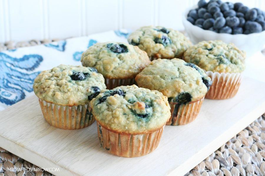 Banana Blueberry Oat Muffins