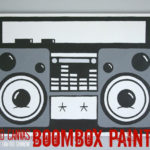 Recycled Canvas Boombox Painting