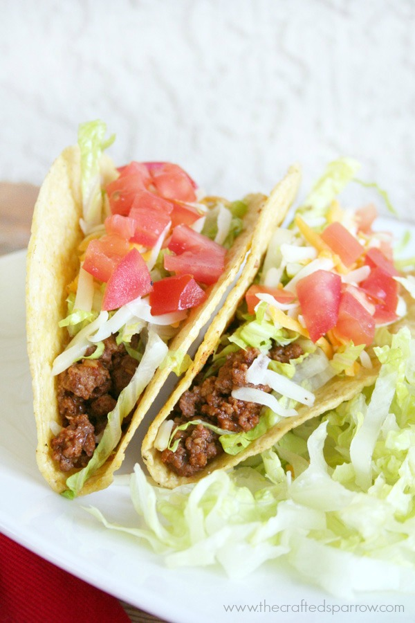 Ground Beef Tacos Made Lighter - The Crafted Sparrow