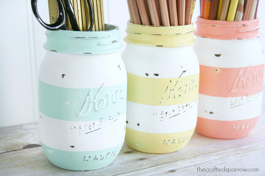 Spring Striped Mason Jars