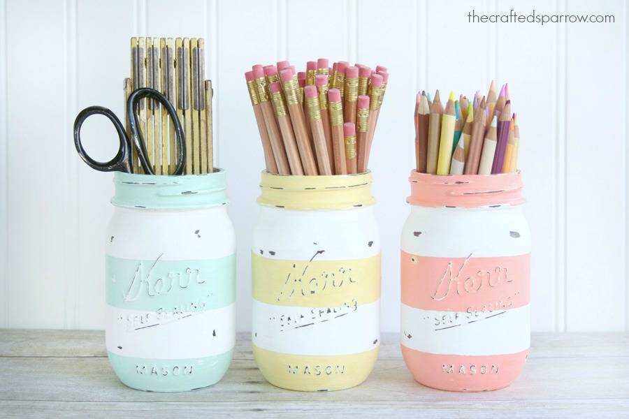Spring Inspired Striped Jars The Crafted Sparrow