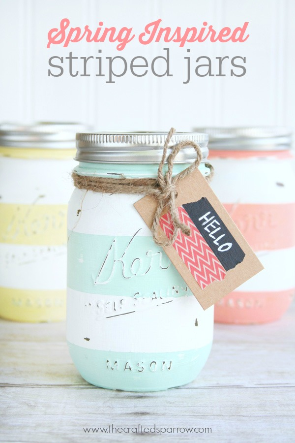 Spring inspired striped jars the crafted sparrow spring striped mason jars negle Gallery