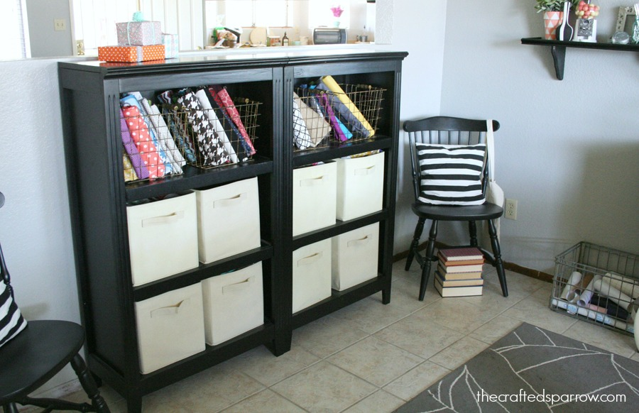 Nice Bookshelves With Baskets Part - 11: Her Fabrics Are Housed In These Bookshelves, With Her Favorites On Display  In The Wire Baskets.