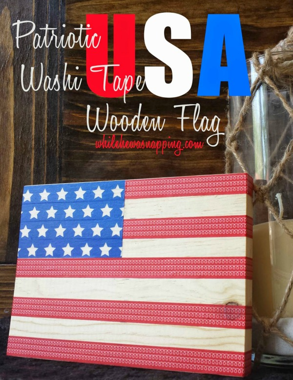 Patriotic USA Washi Tape Wooden Flag