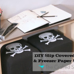 DIY Slip Covered Ottoman & Freezer Paper Stencils {it's a double post!}