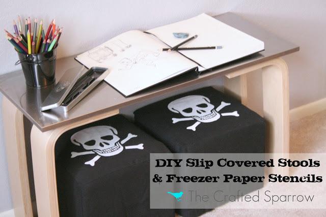 DIY Slip Covered Stools & Freezer Paper Stencils