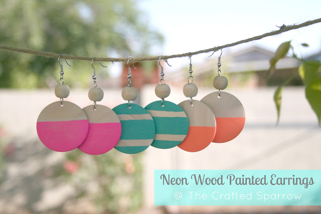 Neon Wood Painted Earrings