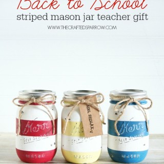 Back to School Striped Mason Jars
