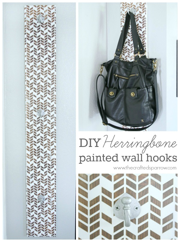 DIY Herringbone Painted Wall Hooks - 1