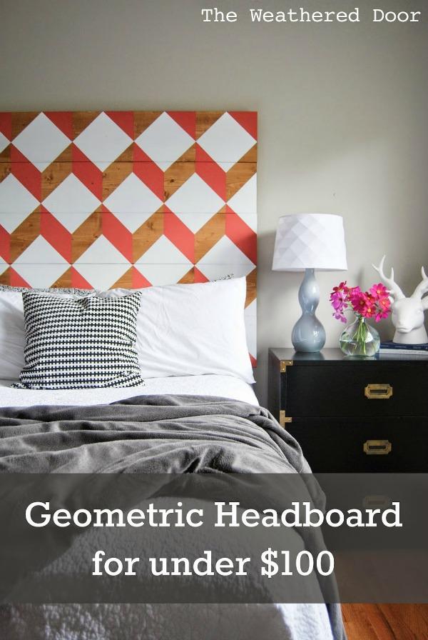 coral geometric headboard under $100 pin WD b-1