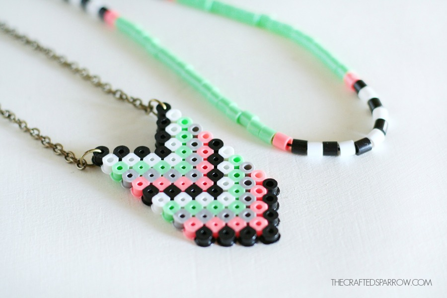 Perler Bead Necklaces - The Crafted Sparrow