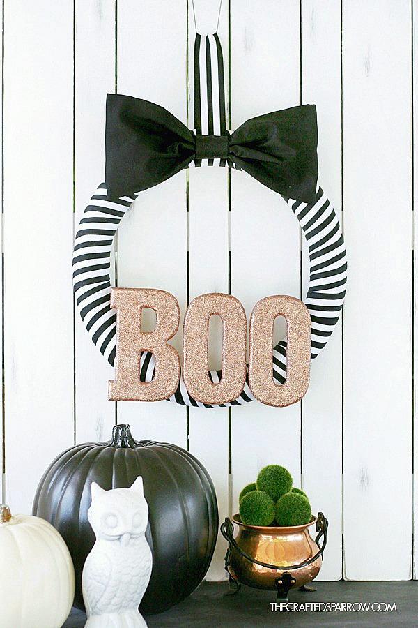 Black White Halloween Wreath