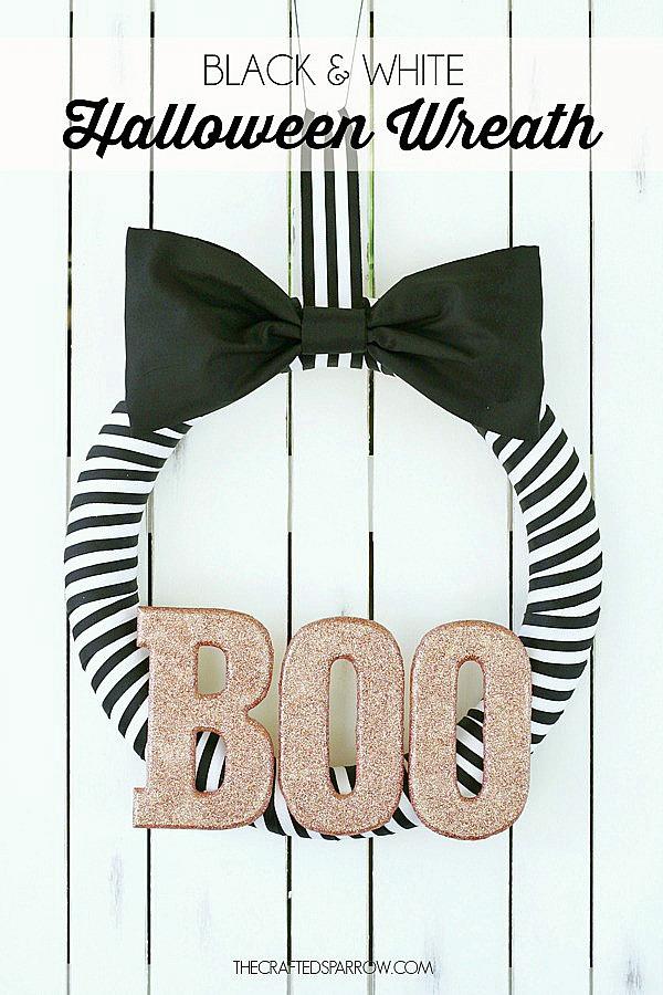 Black and White Halloween Wreath