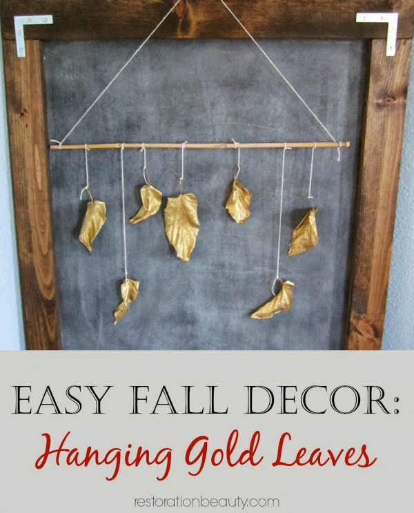 easy fall decor, hanging gold leaves