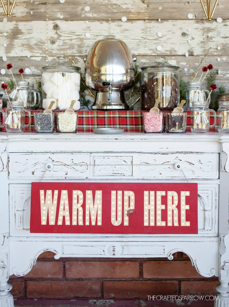 warm up here Cocoa Bar Marquee Sign