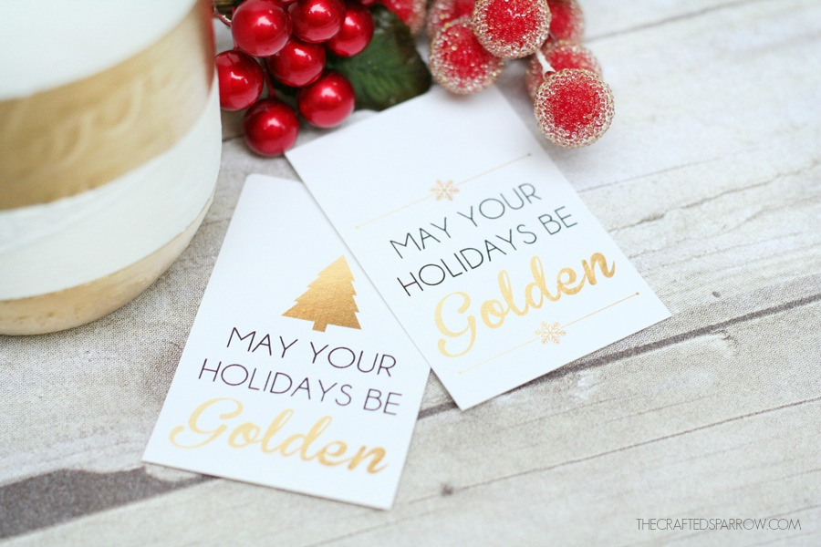 Gold Striped Mason Jar + Free Printable Holiday Tags