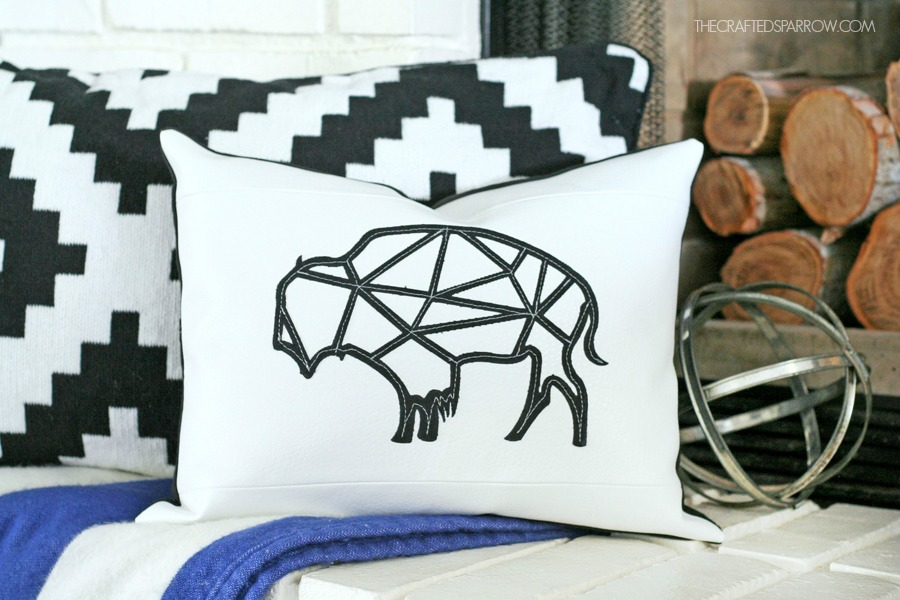Leather Geometric Buffalo Pillow