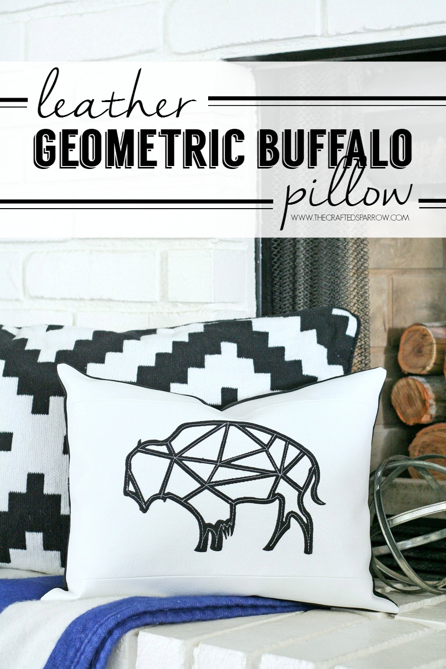 Leather Geometric Buffalo Pillow
