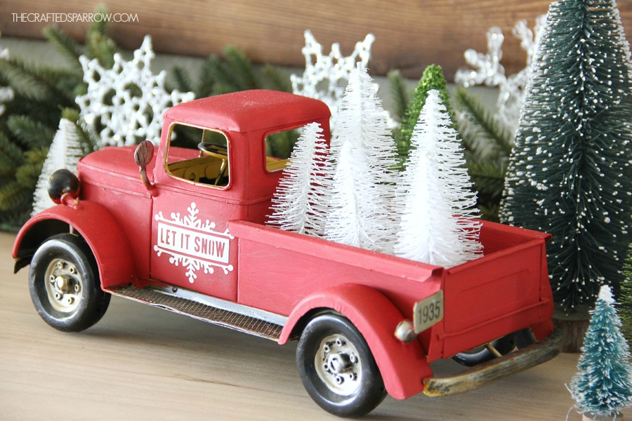 vintage inspired christmas decor - Red Truck Christmas Decor