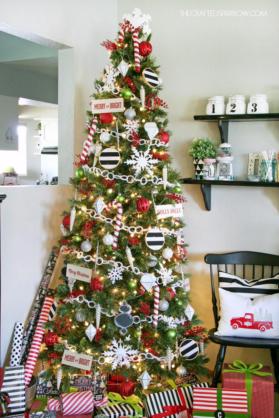 Buffalo Check Christmas Tree Decor.Black White Christmas Tree Decor