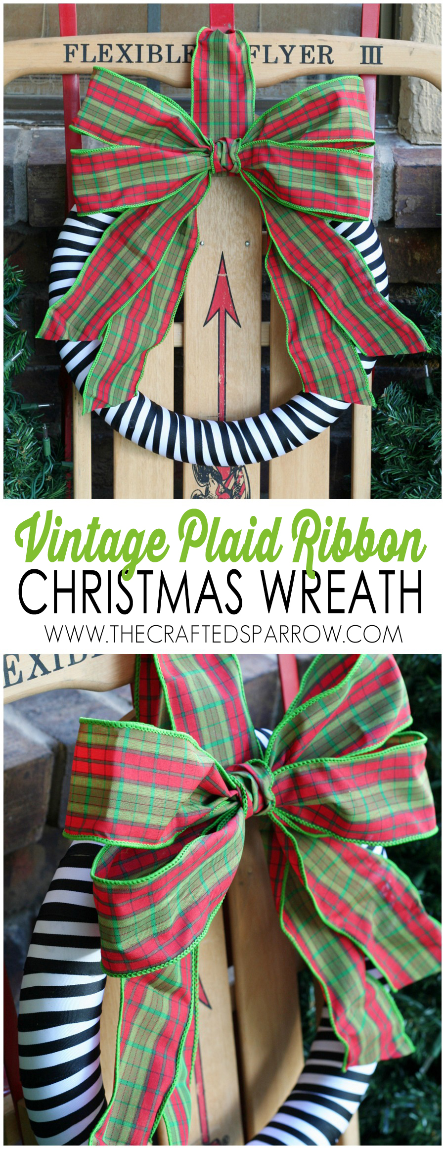 Vintage Plaid Ribbon Christmas Wreath