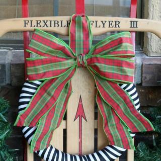 Vintage Plaid Ribbon Christmas Wreath