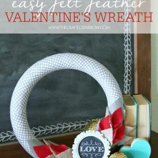 Easy Felt Feather Valentine's Wreath