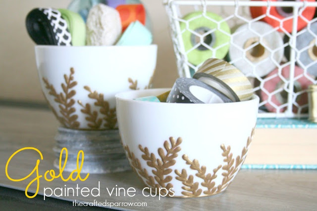 Gold Painted Vine Cups {using DecoArt Glass Writers}