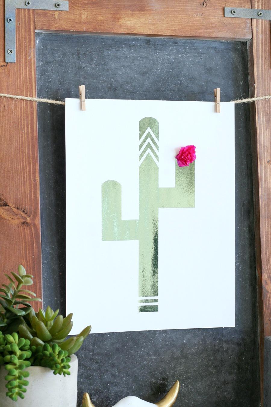 Foiled Cactus Prints & Free Printables