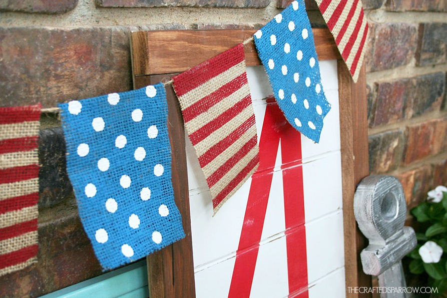 4th of July Painted Burlap Banner