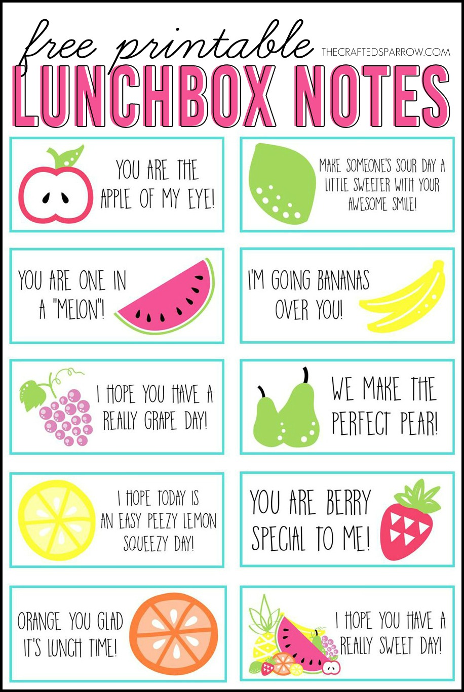 photograph regarding Printable Lunchbox Notes identified as Free of charge Printable Lunchbox Notes