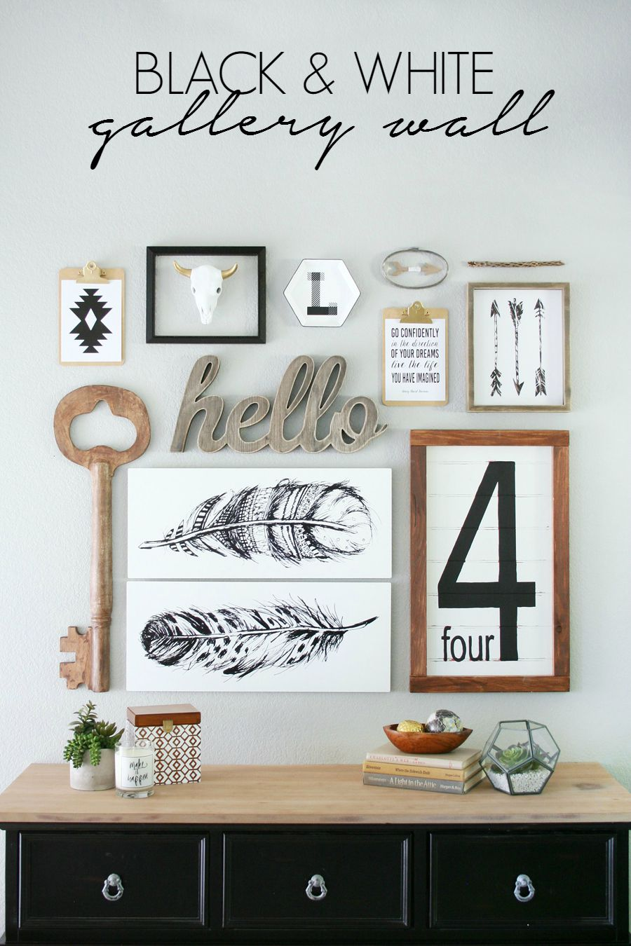 Black white gallery wall for White kitchen wall decor