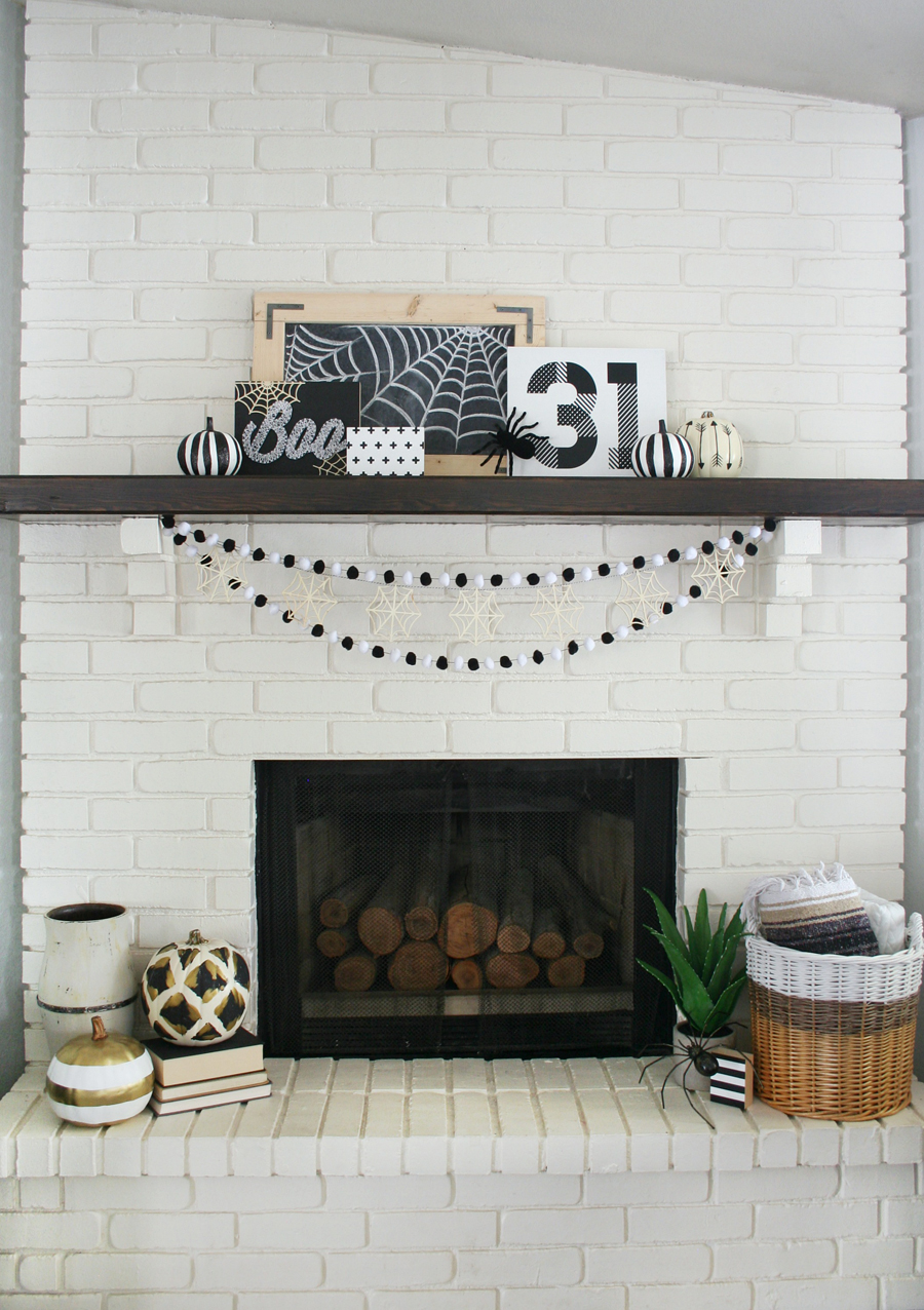 Black & White Halloween Mantel
