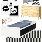 Black & White Superhero Inspired Boys Room Mood Board