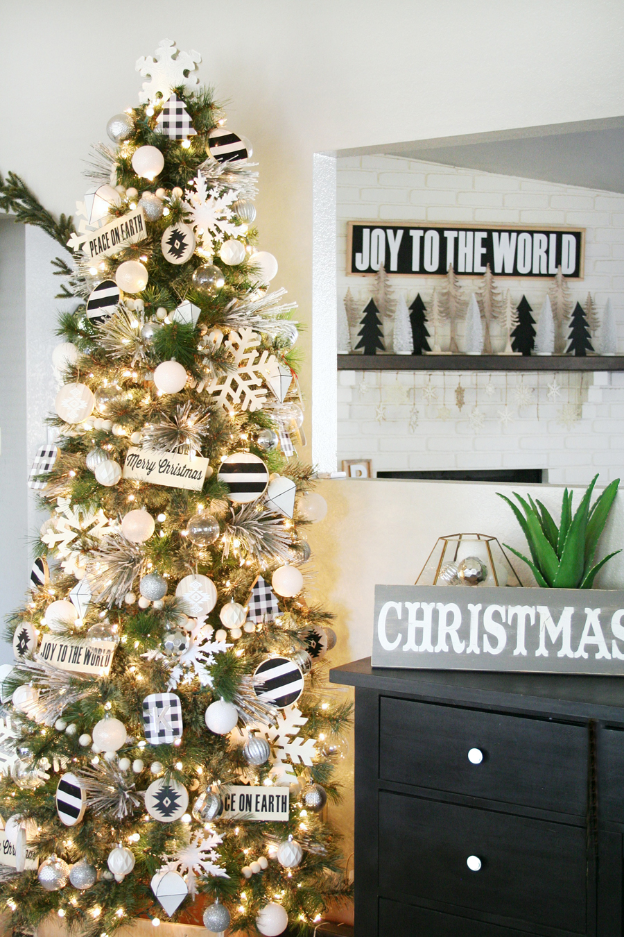 black tree christmas tree decor - White Christmas Tree Decorations