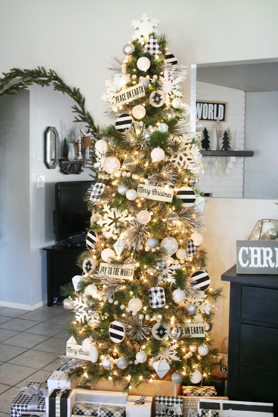 black tree christmas tree decor