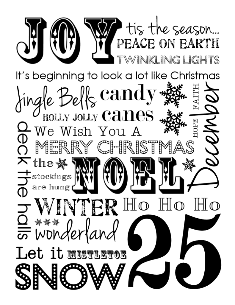 Free Christmas Subway Art Printables