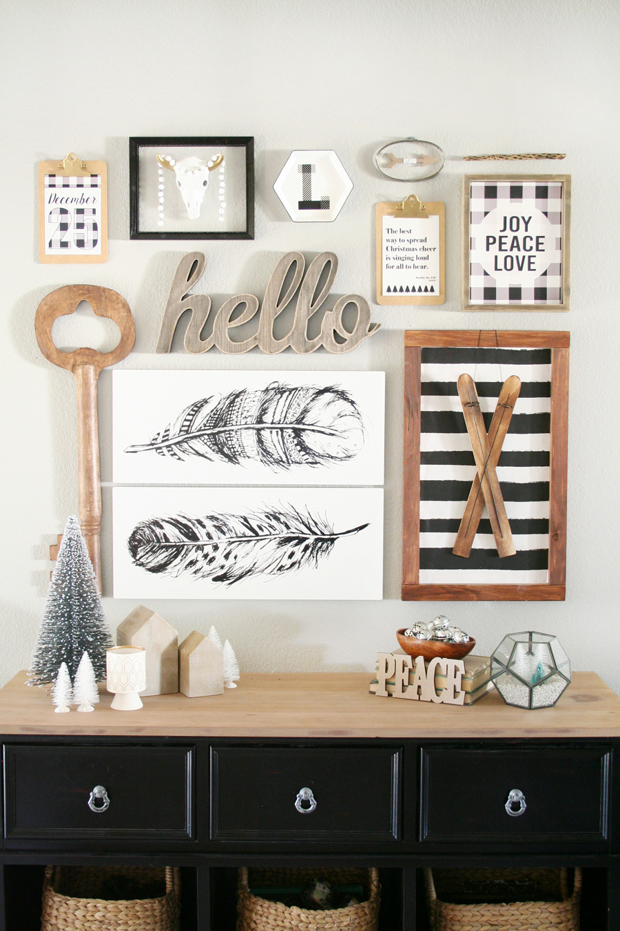 Black White Christmas Entryway Decor