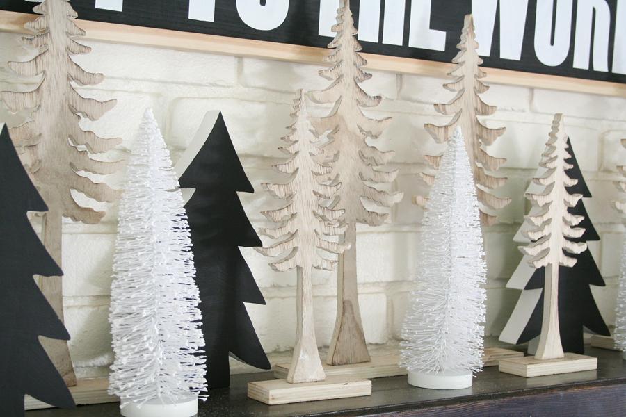 Black & White Christmas Mantel