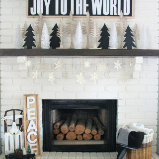 Black & White Christmas Mantel