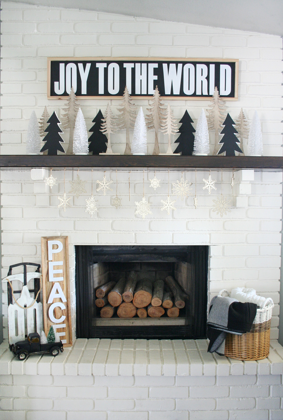 Black & White Christmas Mantel 7