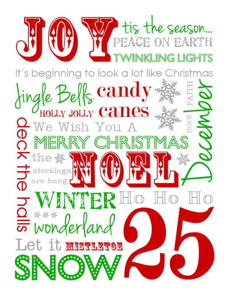 photo relating to Subway Art Printable titled Totally free Xmas Subway Artwork Printables