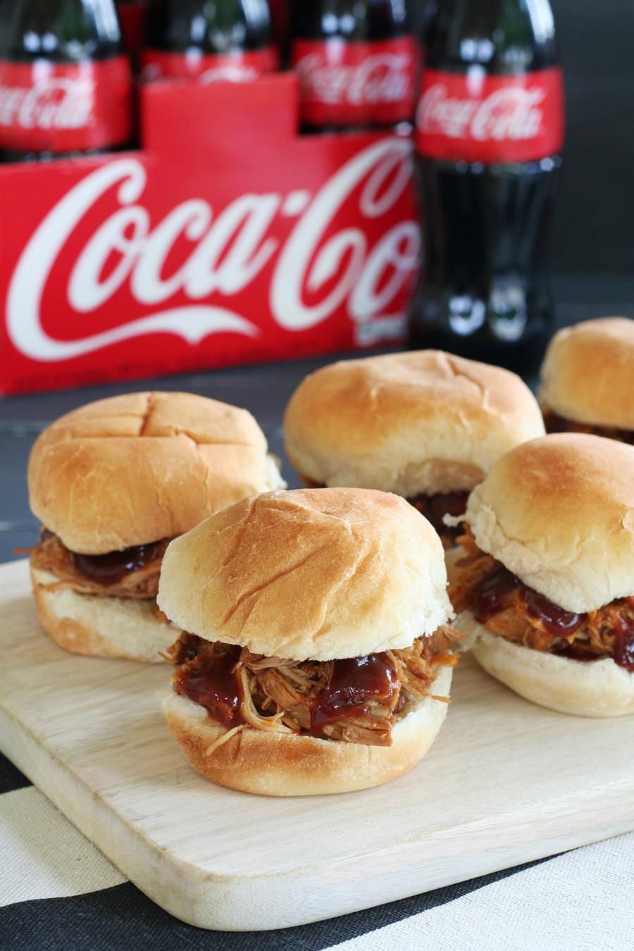 Crockpot Coca-Cola BBQ Chicken Sliders