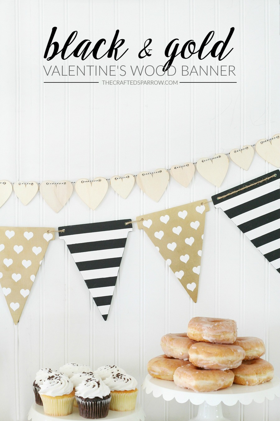 Valentine's Black & Gold Wood Banner