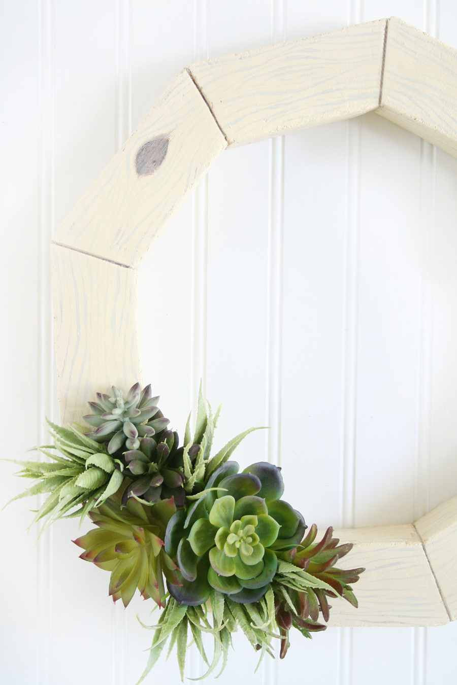 DIY Faux Wood Succulent Wreath