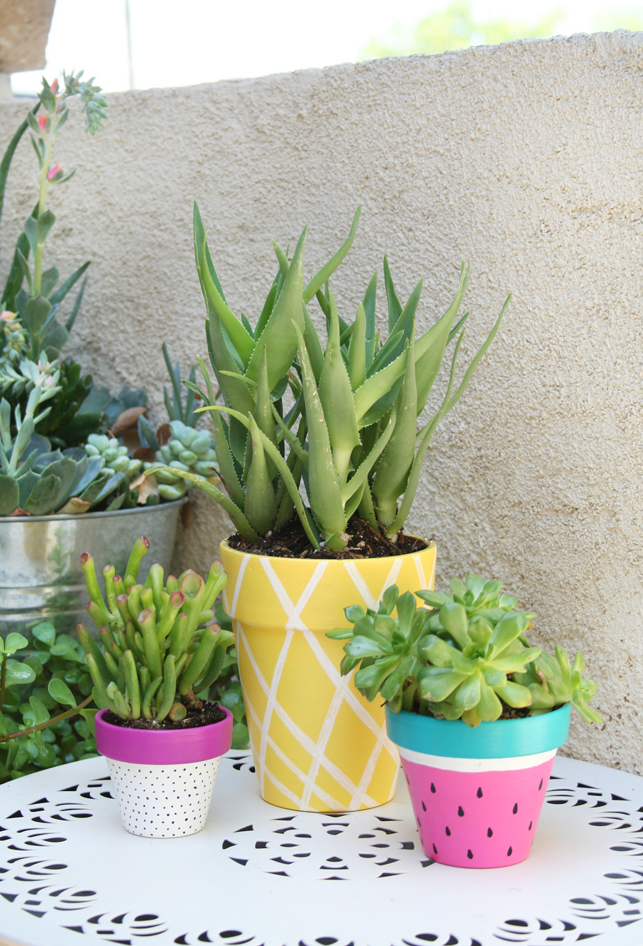 pin painted summer diy planters color planter blocking