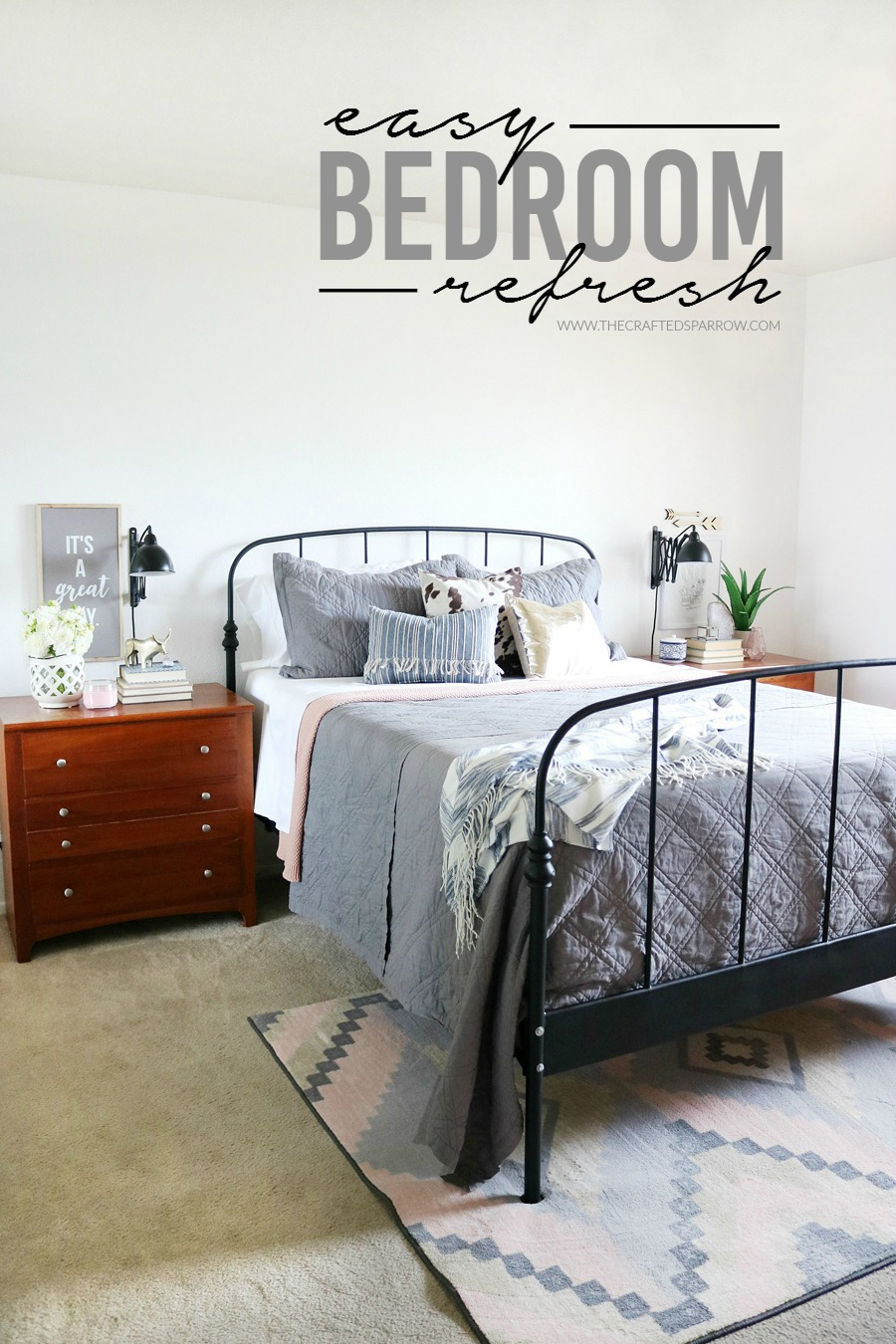 Easy Bedroom Refresh - Neutral basics mixed with soft touches of pinks and southwest elements.