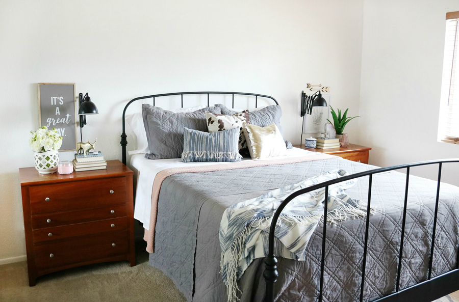 Easy Bedroom Refresh - Neutral basics mixed with soft touches of pinks and southwest decor pieces.